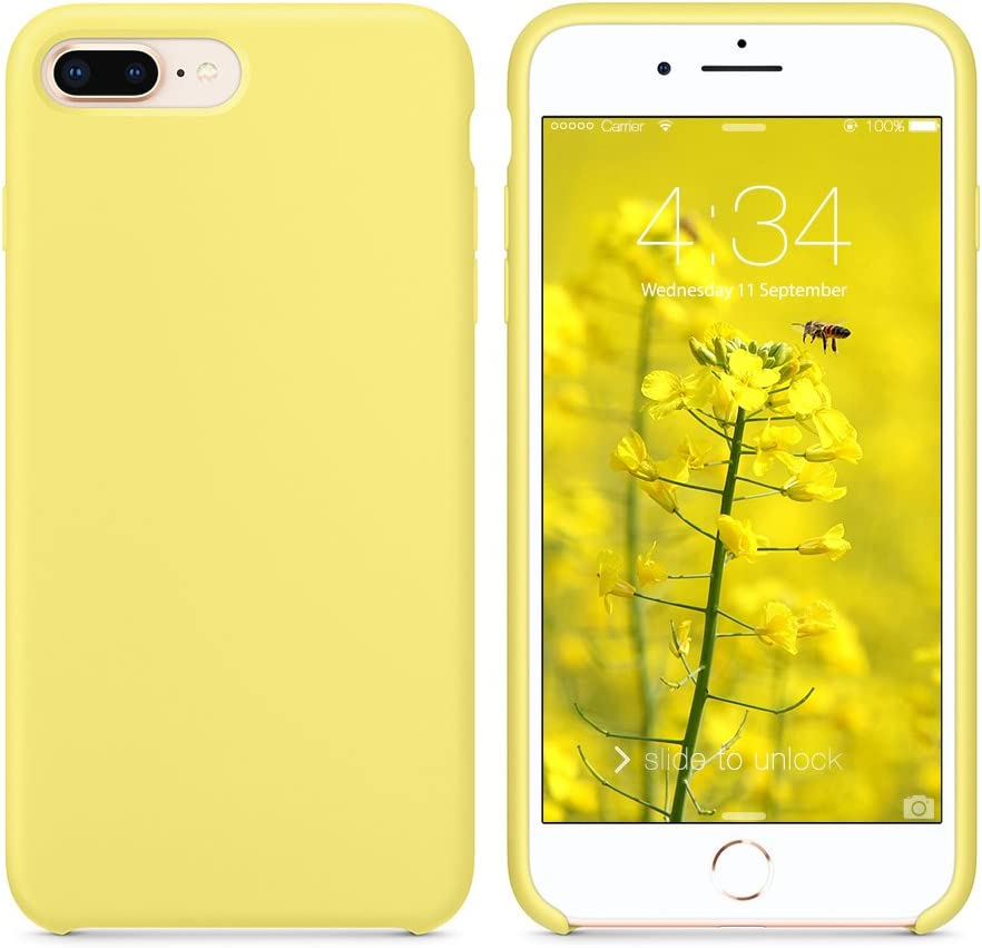 """SURPHY Silicone Case Compatible with iPhone 8 Plus Case iPhone 7 Plus Case, Soft Liquid Silicone Rubber Slim Phone Case Cover with Microfiber Lining for iPhone 7 Plus iPhone 8 Plus 5.5"""", Yellow"""