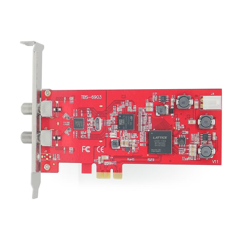TBS DVB-S2 Professional Dual Tuner PCI Express Digital Satellite TV Card with Unique DVB-S2 Demodulator Chipset for Receive Special Broadcasted with ACM, VCM, 16APSK,32APSK by TBS
