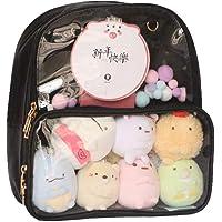 Ita Bag Leather Backpack Transparent Itabags Anime Bag Backpack (black)