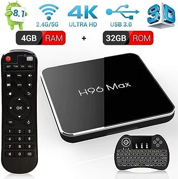 Android 8.1 Smart TV Box, 4 GB RAM & 32 GB ROM, H96 MAX X2 TV