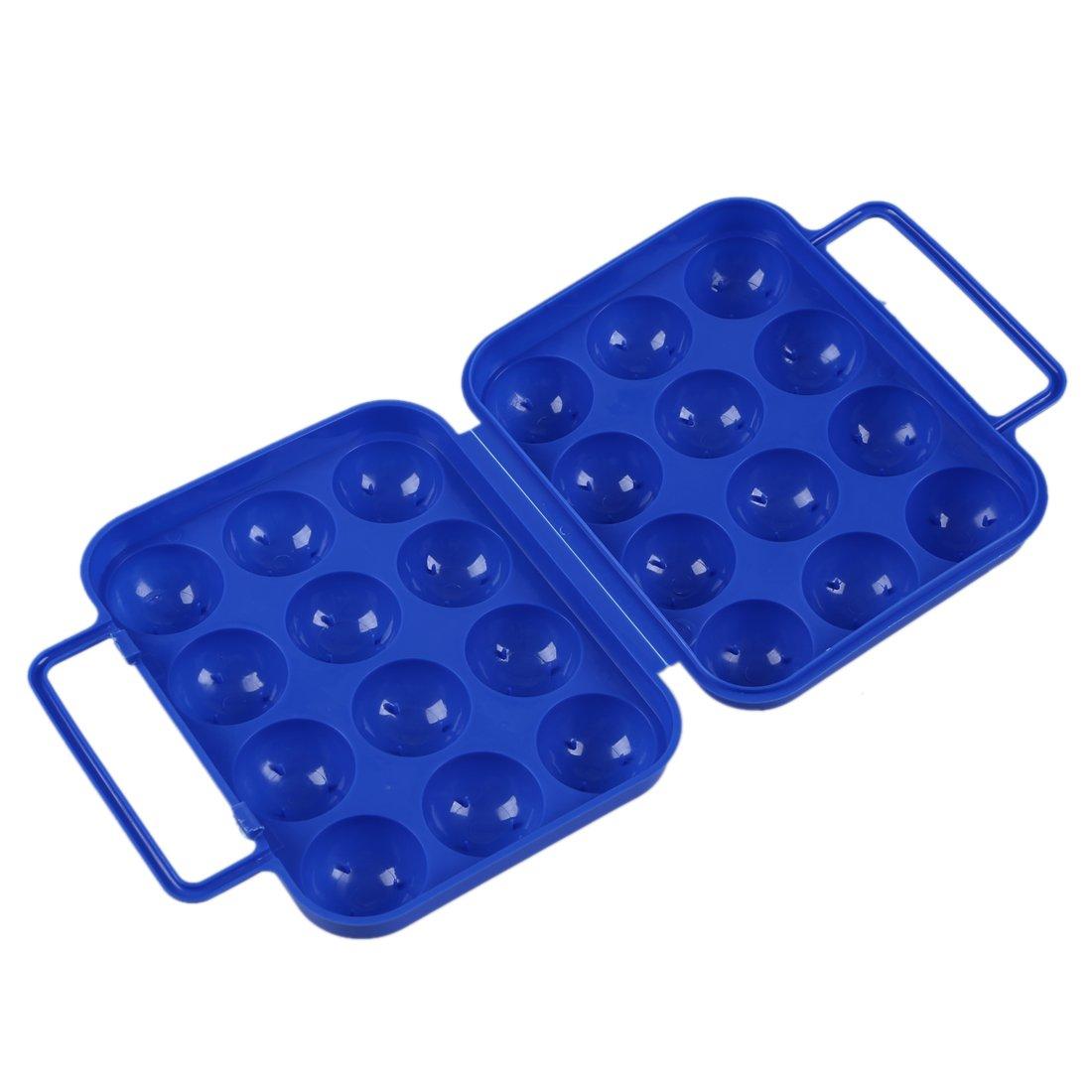 SODIAL(R) Blu Uova di plastica pieghevoli Portare il contenitore di case (per 12 uova) per il contenitore di picnic