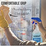 Duracare Spray Bottles for Cleaning Solutions, Industrial Strength, Chemical Resistant and leak Proof 32oz Plastic Spray Bottles (3 Pack) Adjustable Nozzle - 2 Microfiber Cloths & Collapsible Funnel