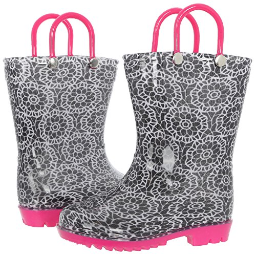 Capelli Print - Capelli New York Toddler Girls Lace Print Rain Boot Black Combo 6/7