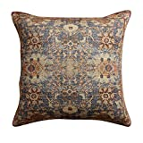 ThymeHome Annora Hand Woven Dhurri Cushion-100% Cotton Decorative Accent Indoor Pillow of 18x18 Inch Multicolor With Insert.