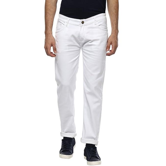 Urbano Fashion Men's White Slim Fit Stretch Jeans Men's Jeans at amazon