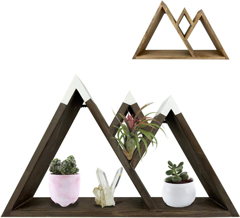 Dash Home Majestic Floating Mountain Shelf - Cabin Decor, Triangle Shelf, Mountain Wall Art, Floating Farmhouse Shelf - Bedroom Decor, Living Room Decor & Rustic Decor Aesthetic Shelves for Wall