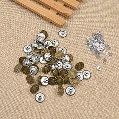 (50 Antique Bronze 17mm Button Hammer On Denim Jeans Tack Star Buttons (Color - Bronze))