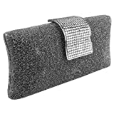 MG Collection Claudia Rhinestone Baguette Hard Case Style Evening Purse, Grey, One Size