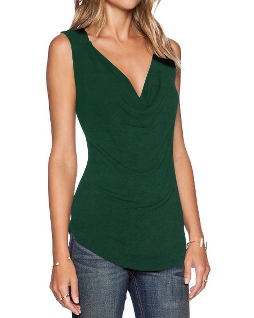 Sarin Mathews Women's V Neck Ruched Sleeveless Sexy Blouse Stretch Tank Tops InkGreen S