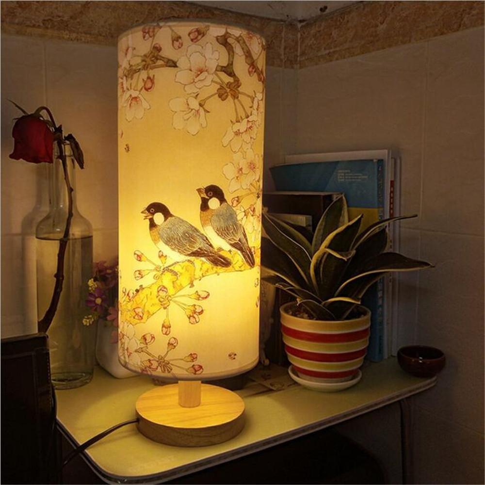 NIHE moderna lámpara lámpara moderna de madera de estar estudio dormitorio cama sencilla regulador pequeña lámpara creativa LED 2c21ab