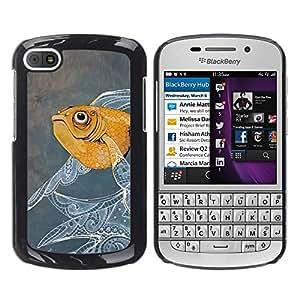 TopCaseStore / la caja del caucho duro de la cubierta de protección de la piel - Fish Painting Floral Pattern Oil Watercolor - BlackBerry Q10