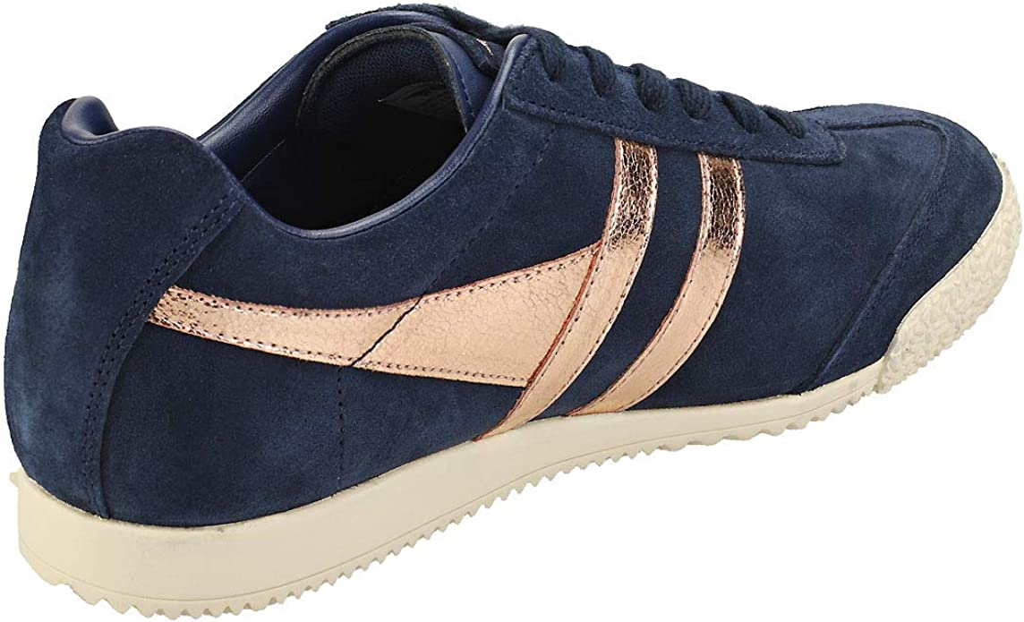 7 UK Gola Harrier Mirror Womens Navy Rose Gold Classic Trainers