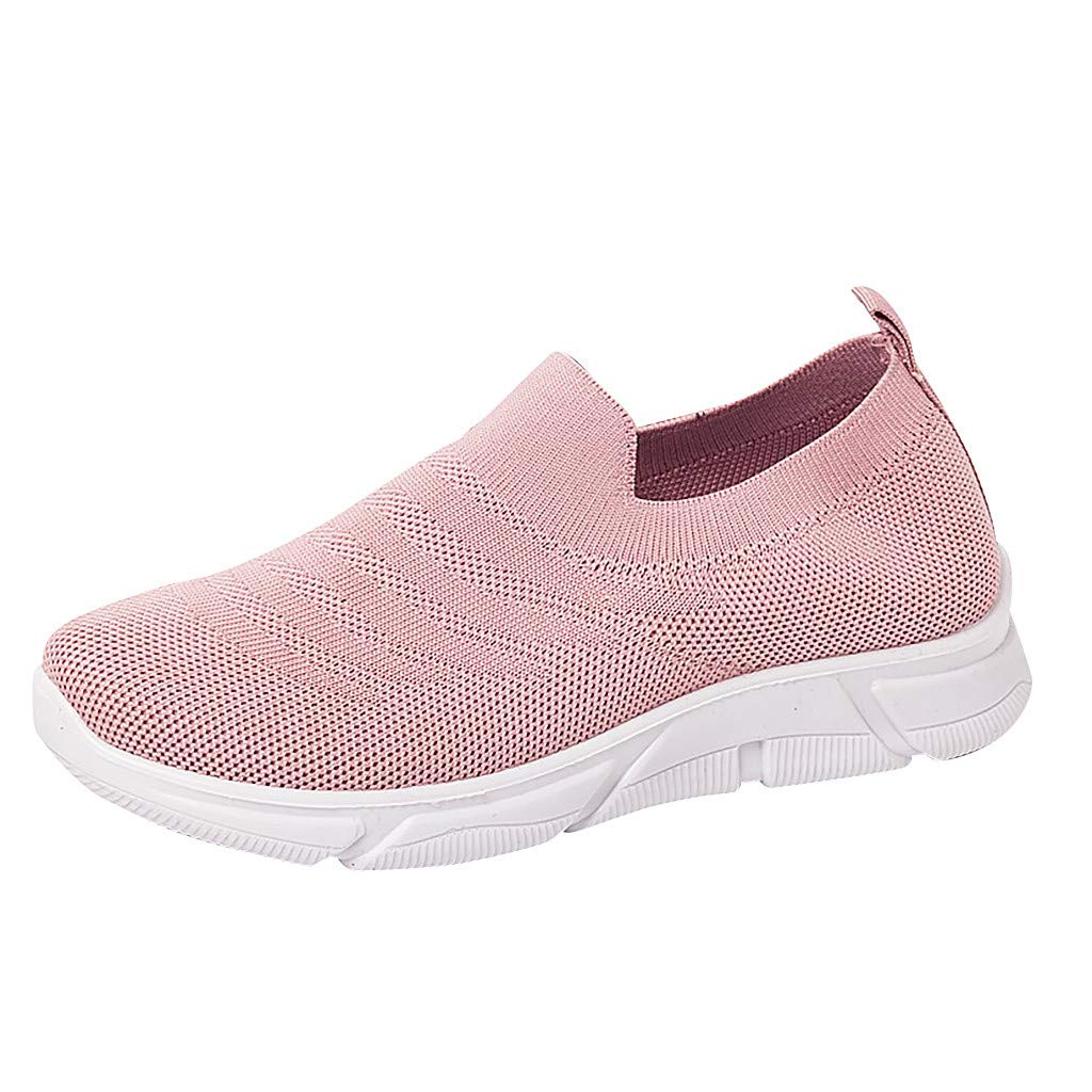 Hot Women's Fashion Sneakers Breathable Air Mesh Lightweight Breathable Solid Color Casual Sports Walking Shoes (Pink, US:6)