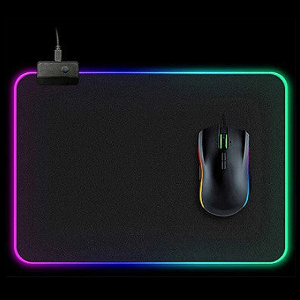 13.8x9.8IN Black Jancal Non-Slip LED Lighting USB Wired Colorful Mice Mouse Mat for Computer PC /& Mac Gamers RGB Gaming Mouse Pad