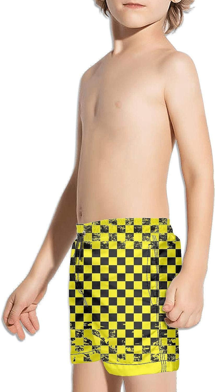 supiocv Black and Yellow Abstract Grunge Checkerboard Boy Board Shorts TrainingCasual Sportfloral Shorts Beachshorts