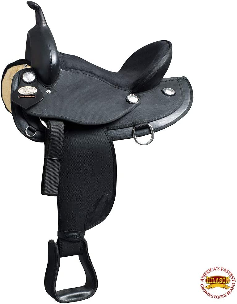 HILASON 15 16 17 in Western Horse Trail Saddle Synthetic Pleasure Riding