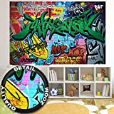 Wall Mural Street Style Mural Decoration Graffiti Art Writing Pop Art Letterings Wall Painting Wall Urban Abstract Comic I paperhanging Wallpaper poster wall decor by GREAT ART (82.7x55 Inch)