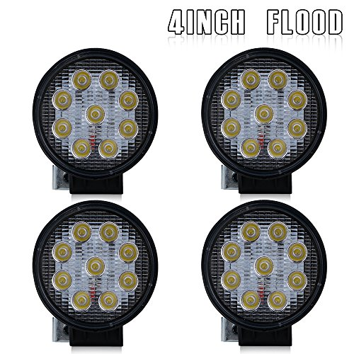 4Pcs 4 Inch Round Pods Flood Led Driving Fog Lights Off Road Work Light Headlight Backup Reverse Lamp John Deere Rv Jeep Wrangler 4X4 Trailer Kubota Boat Utv 4 Wheeler Golf Cart Atv Bike 12V 24V