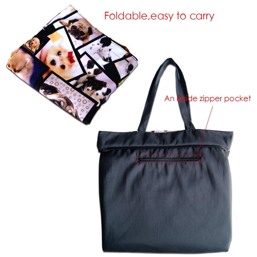 Newplenty Ladies Zippered Light Shoulder Shopping Tote Bag Handbag Beach Satchel, Many Dogs by newplenty (Image #5)