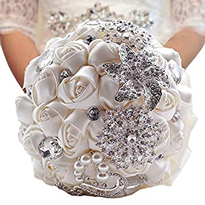 ModeC Romantic Artificial Silk Rose Flowers Crystal Handmade Bride Wedding Holding Bouquet 8