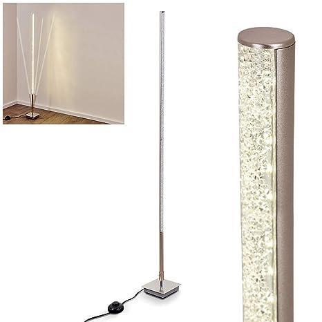 Lámpara de pie LED Strip de metal níquel mate, lámpara de ...
