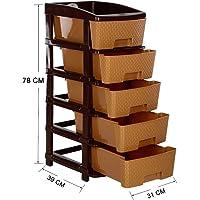 TEDEMEL NAKODA Plastic Modular Drawer System 5 Tier Drawer Organisers, Drawers for Storage, for office, home, multiple use (check option for colour & model