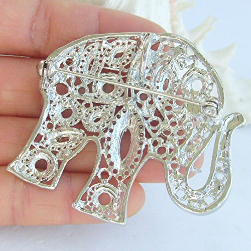 Sindary Unique Animal 2.17'' Silver-Tone Clear Rhinestone Crystal Elephant Brooch Pin Pendant BZ5102 by Animal Brooch-Sindary Jewelry (Image #4)