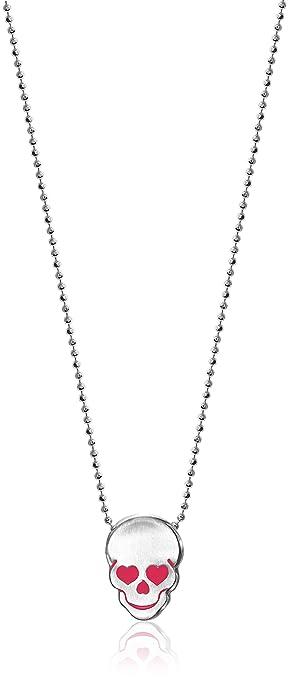 Alex Woo Little Rockstar Sterling Silver Enamel Skull Necklace, 40 cm (16 Inch)