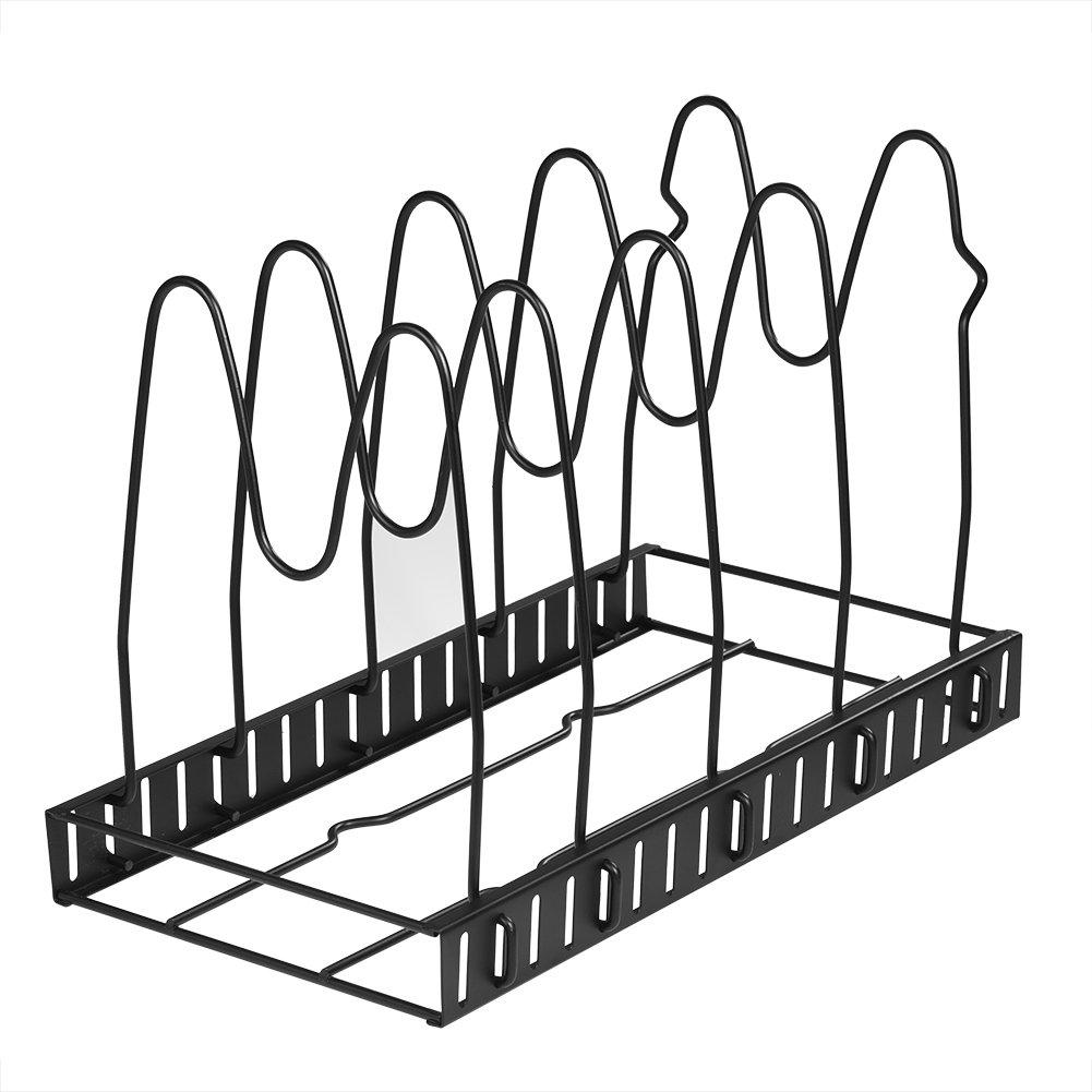 Foldable Modern Metal Wire Dish Drying Rack Multi-layer Adjustable Kitchen Storage Rack Pan Pot Lids Cutting Board Folding Organizer Stand(5 Layers)