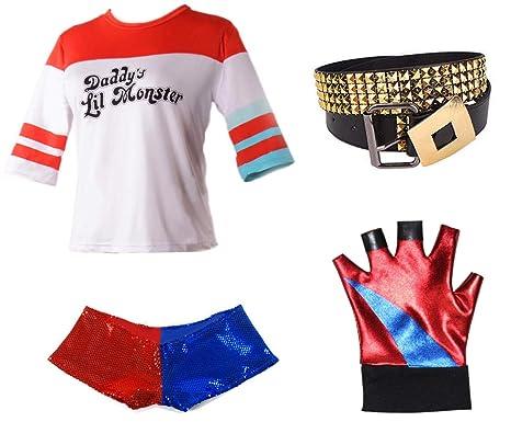 Harley Quinn Movie Fancy Dress Costume Full Accessory Kit (Medium)