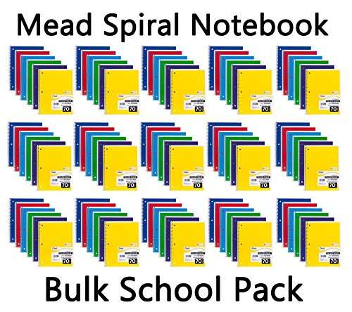 Mead Spiral Notebook, College Ruled, 1 Subject, 70 Sheets, Bulk 96 PACK ()