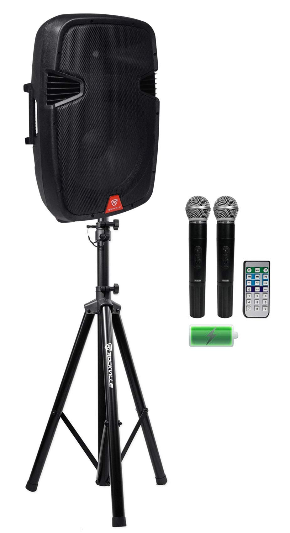 Rockville RAM15BT 15'' Rechargable Powered 800W PA Speaker+2 Mics+Bluetooth+Stand by Rockville