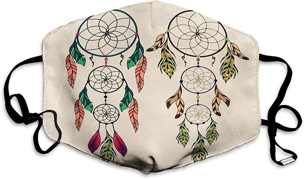 Lavable y Reutilizable Máscara de Boca Protección de la máscara Atrapasueños de Color Plumas Dibujadas a Mano Dibujo Vintage Genial