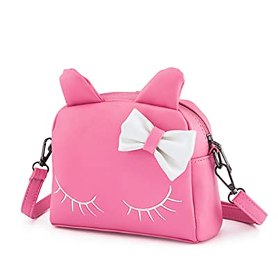 SUKUTU Little Girls Cute Cat PU Leather Crossbody Purse Backpack Purses With Bowknot For Toddler Kids