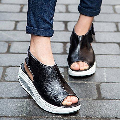 Comode con Sandalo Eleganti per Nero Platform Donna Zeppa Camminare con Scarpe Estivi Plateau DAFENP Cuoio Sandali Tacco xX5qwnF