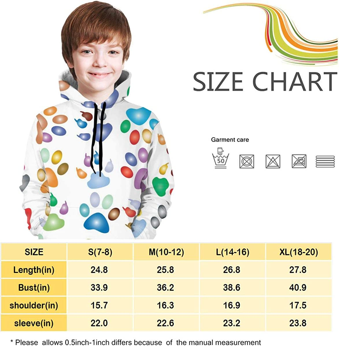 Teen Pullover Hoodies with Pocket Colorful Paw Prints Soft Fleece Hooded Sweatshirt for Youth Teens Kids Boys Girls