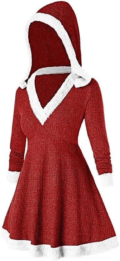 WOZOW Merry Christmas Velvet Festival Rouge Robe Femme No/ël M/ère Lutin /à Manche Longue Soir/ée C/ér/émonie Princesse Velours F/ête Cosplay Costume