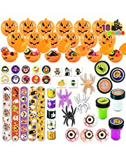: Halloween Party Favors Set, 18 Pack Prefilled Pumpkin Box with Halloween Themed Party Favors Including Halloween Stamps, Eyes Bouncing Balls, Stickers, Spiders, Pumpkins, Tattoo and Slap Bracelets for Kids Trick or Treat, Party Favors, Halloween Gift Exchange, Carnival Game Prizes