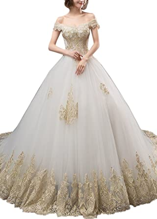 Okaybrial Women's Wedding Dresses For Bride Off Shoulder Gold Lace Best Wedding Gown Patterns