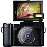 Videokamera Camcorder, Huiheng Full HD 1080P 24MP Digitalkamera 3,0 Zoll LCD Mini Videokamera mit Makro Objektiv und Blitzlicht