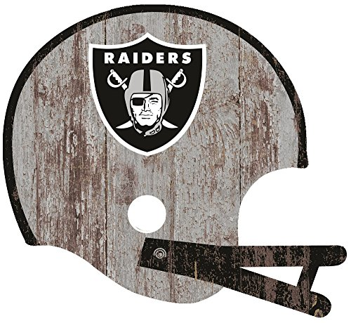 Fan Creations Oakland Raiders Distressed Helmet Cutout, Multi - Oakland Raiders Oak Helmet