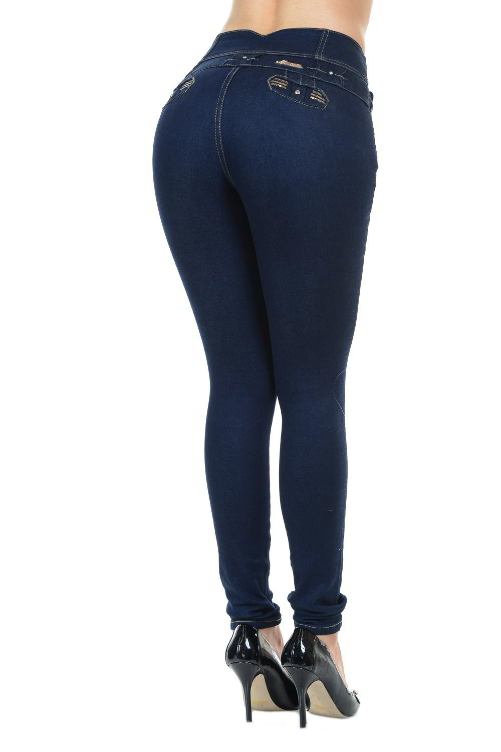 M.Michel Women's Jeans Colombian Design, Butt Lift, Levanta Cola, Push-Up, Skinny - Style G970 - Navy - Size 01