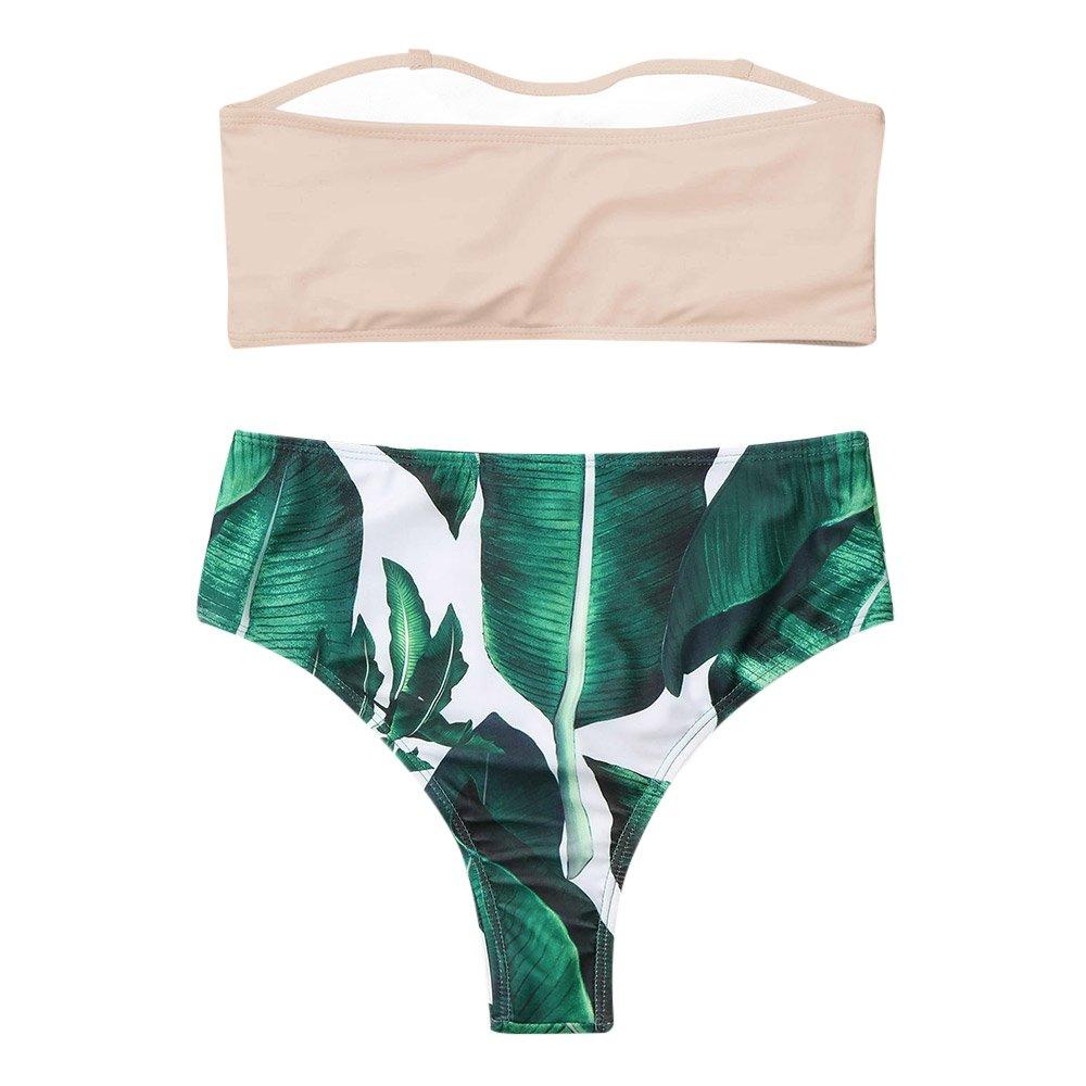 308542b8dbfae Amazon.com: ZAFUL Womens Two Pieces Swimsuit Sexy Strapless Palm Leaf High  Cut Bikini Set: Clothing