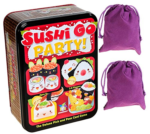 Sushi Go Party Game in Tin for 2 to 5 Players _ Bonus Two Purple Velveteen Drawstring Storage Pouches _ Bundled Items
