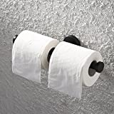 KES Bath Double Roll Toilet Paper Holder Wall Mount Dual Tissue Hook SUS304 Stainless Steel Matte Black, BPH212S2-BK