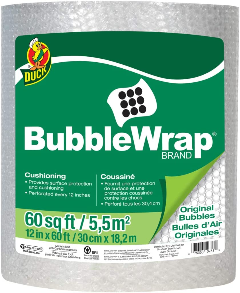 "Duck Brand Bubble Wrap Roll, Original Bubble Cushioning, 12"" x 60', Perforated Every 12"" (287007)"