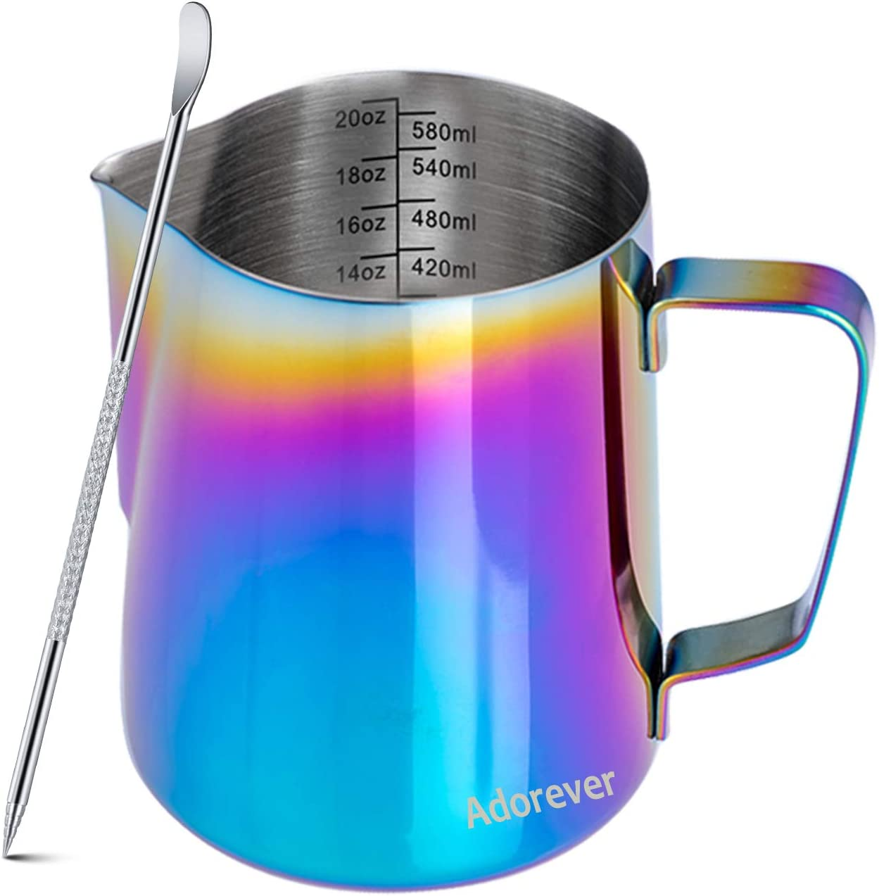 Milk Frothing Pitcher Colorful 600ml (20oz) Steaming Pitchers Stainless Steel Milk Coffee Cappuccino Latte Art Barista Steam Pitchers Milk Jug Cup with Decorating Art Pen