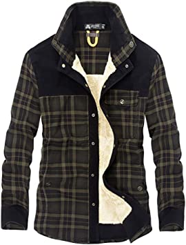 Camisa para hombre, Mens acolchada leñador Casual Manga larga a cuadros Franela Forro botón Doublé camisa cálida chaqueta Sherpa DarkGreen M: Amazon.es: Belleza