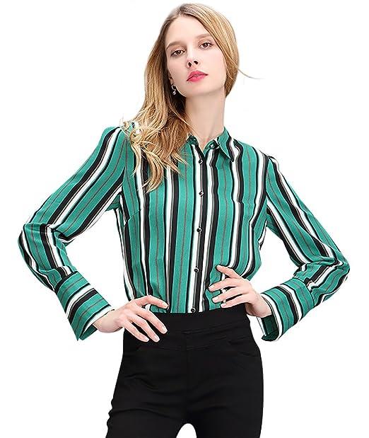 NiSeng Camisetas de Mujer Rayas Manga Larga Chiffon Blouse Camisetas Casuales Blusa de Boton Verde S