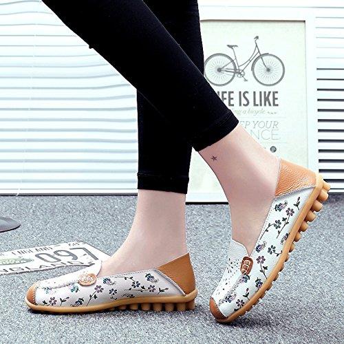 VenusCelia Frauen Floraler Komfort Walking Flat Loafer Weiß (hohl)